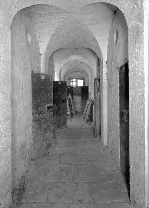 Interior view of corridor in east male block on ground floor, Jedburgh Castle Jail.