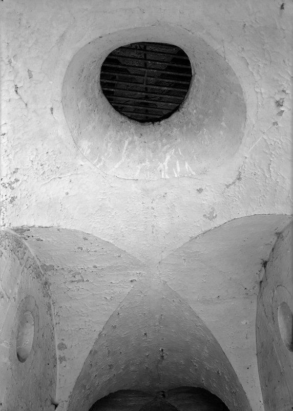 Detail of ceiling spyhole between ground and first floors, male block one, Jedburgh Castle Jail.