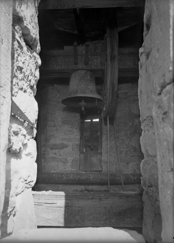 Detail of bell in bell tower on roof of Govenor's House, Jedburgh Castle Jail.