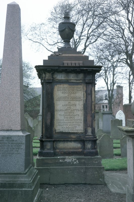 View of cast iron monument erected 1830 by Andrew Duncan, shipowner and merchant and his wife Margaret Rattray to their daughter Margaret, Arbroath Western Cemetery.