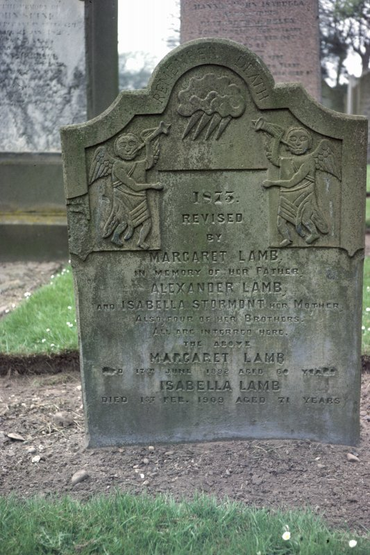 View of headstone dated 1873 to the Lamb family, Arbroath Western cemetery.