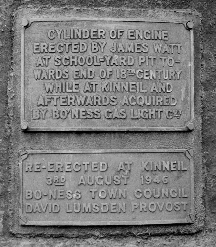 Detail of plaque on boiler.