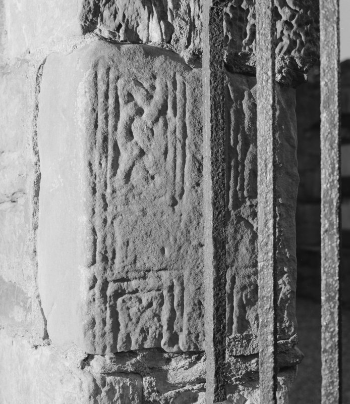 View of Abercrombie no.1 cross-slab fragment in the wall of Abercrombie Church.