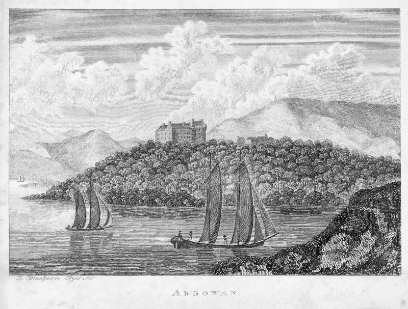 Ardgowan House, Inverkip. Photographic copy of engraving of view of house on hill with boats in foreground. Titled: 'Argowan'