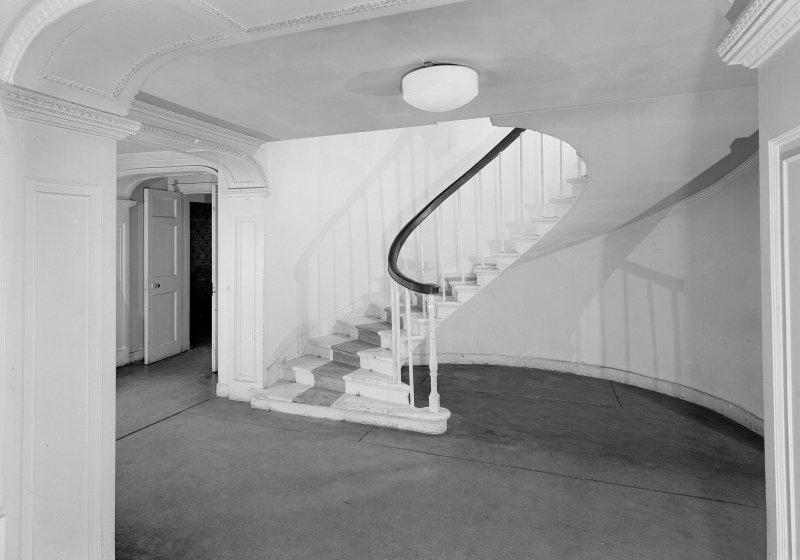 Interior view of hall (1768) and staircase, Auchenbowie House.