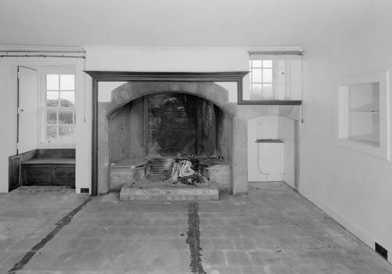 View of fireplace in original kitchen of 17th century house, Auchenbowie House.
