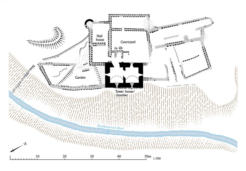 Balquhain Castle, general site plan of the tower-house and its surrounding buildings. EPS file.