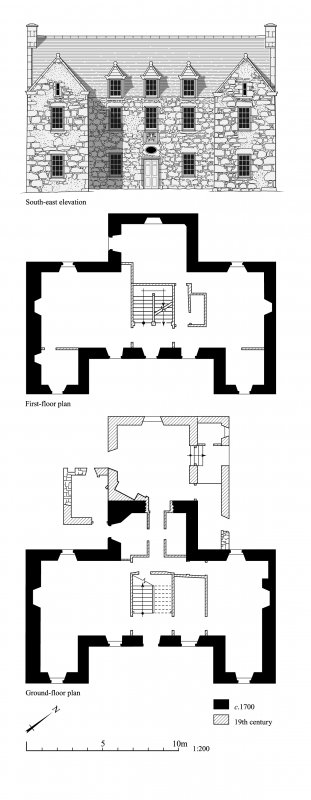 Skellater House, phased floor plans and elevation.
