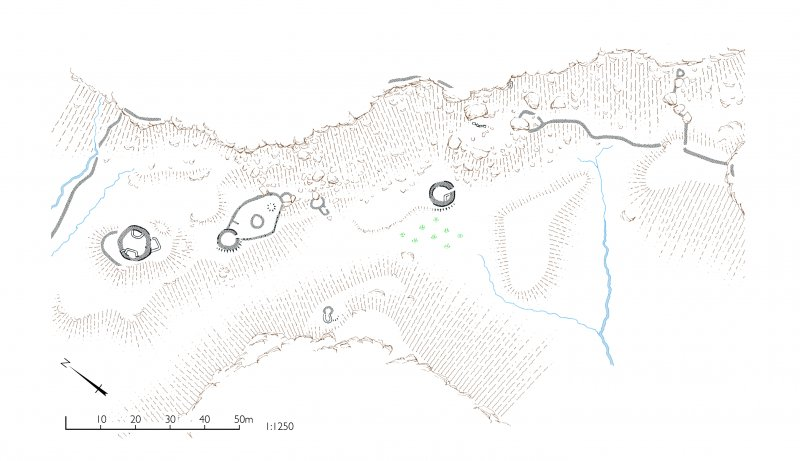 Cnoc Smeordail, plan of hut circles. HES publication illustration, 400dpi copy of GV006101