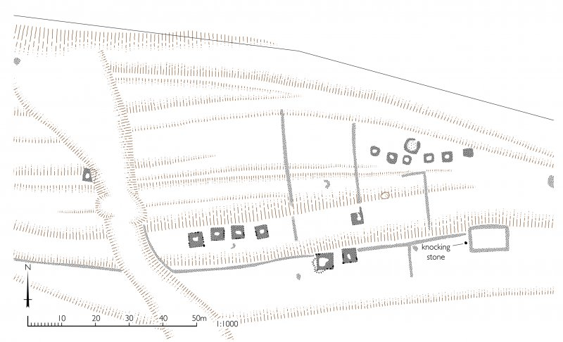 Plan of square burial cairns, Bay of Laig. HES publication illustration, 400dpi copy of GV006108
