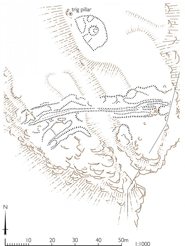 Plan of earthworks on the summit of Beinn Airein. HES publication illustration, 400dpi copy of GV006115