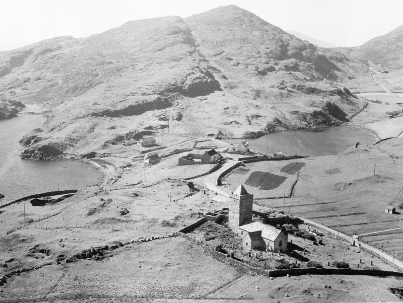 Oblique aerial view of St Clement's Church, Rodel, Harris