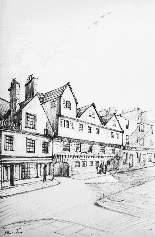 Copy of drawing of Huntly House and 142 Canongate, signed 'J Houston'