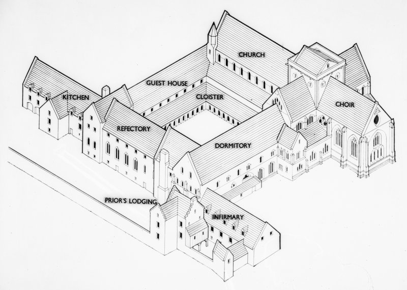 Pluscarden Abbey, Copy of drawing showing isometric view of projected restoration.