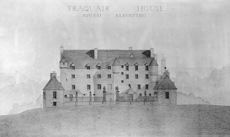 Traquair House Photographic copy of South elevation, with scale