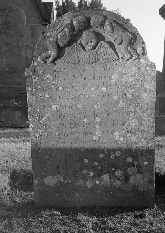 View of gravestone erected by Robert Beig, schoolmaster, in memory of his spouse Janet 1766, in the churchyard of Fowlis Easter Church.