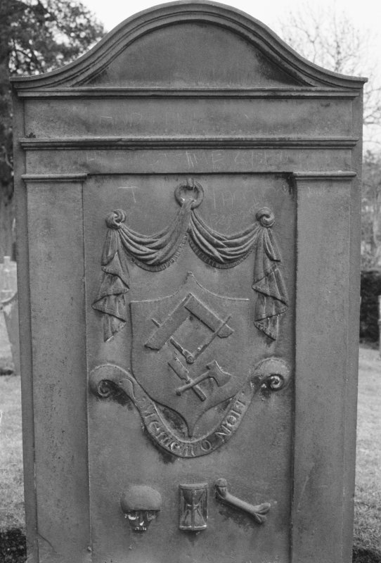 Detail of gravestone for Thos. Fyfle dated 1805, in the burial ground of Kinnoull Old Parish Church.