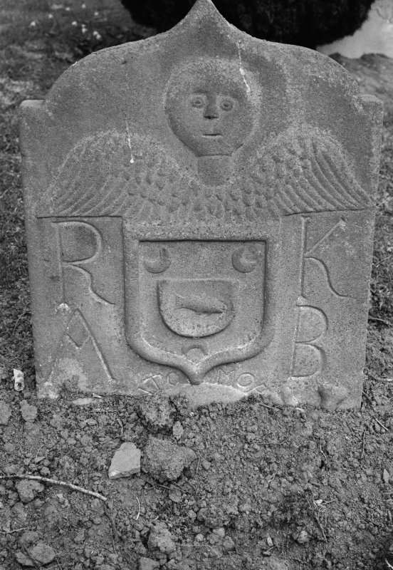 Detail of gravestone for Robert Knox dated 1708 with initials 'R K' and 'A B',  in the burial ground of Kinnoull Old Parish Church.