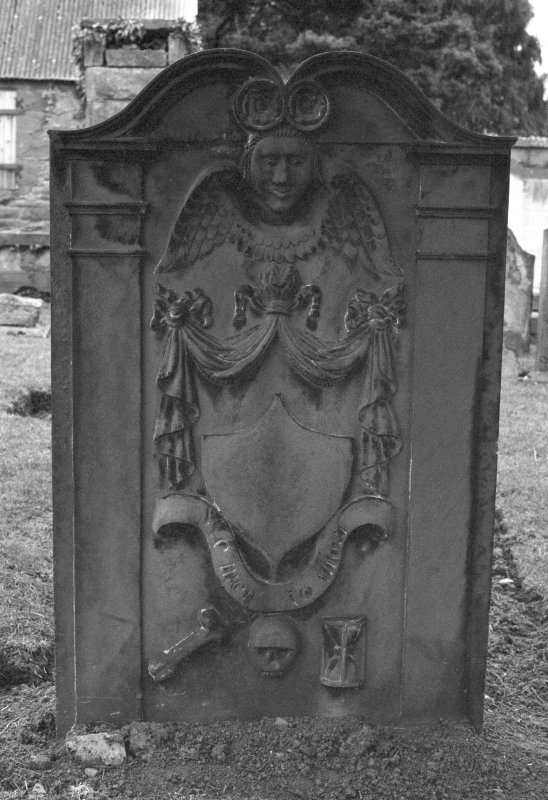 Detail of gravestone for George Lamb dated 1795, in the burial ground of Kinnoull Old Parish Church.