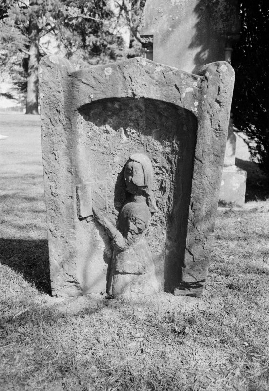 View of gravestone for Elisabeth Scott 1731 in the churchyard of Dryburgh Abbey.