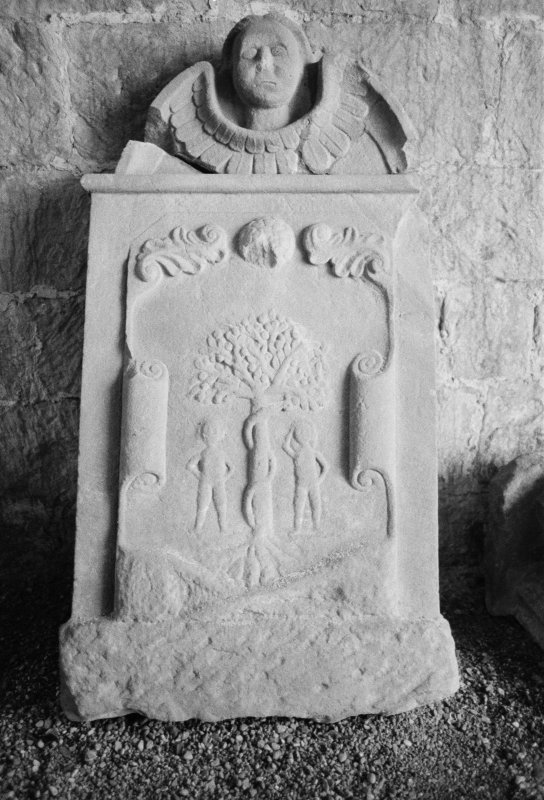 View of gravestone for William Pringle 1745 in the churchyard of Dryburgh Abbey.