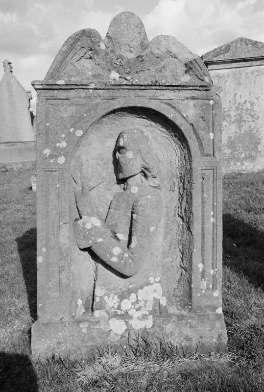 View of gravestone for Andrew Pringle 1780 in the churchyard of Melrose Abbey.