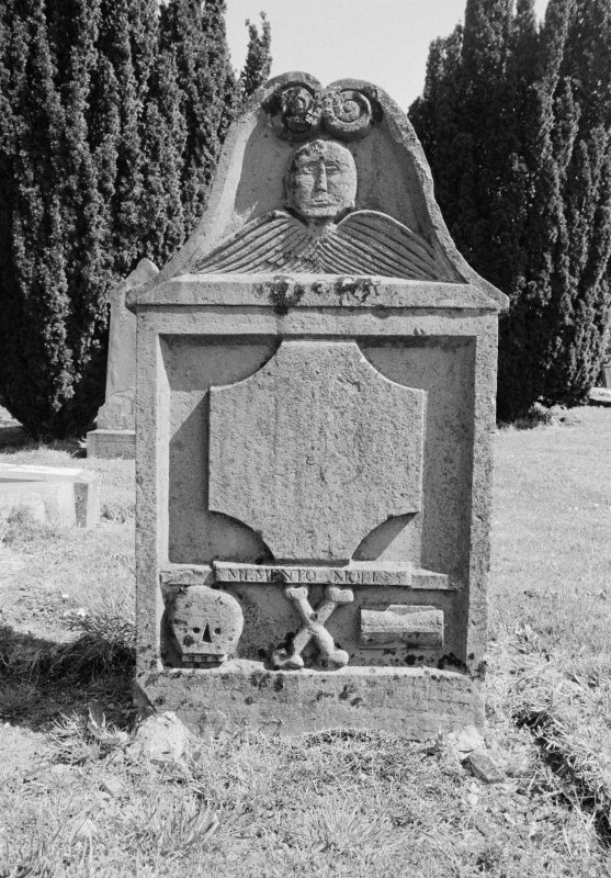 View of gravestone for Donald Maceman 1789 and Ann McKenzie 1791 in the churchyard of Comrie Old Parish Church.