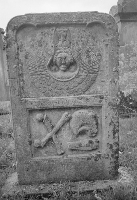 View of gravestone commemorating John Martin, d.1783, in the churchyard of Leswalt Old Parish Church.