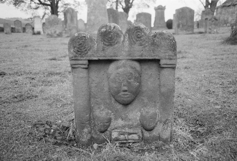 View of gravestone in the churchyard of Preston Old Parish Church.