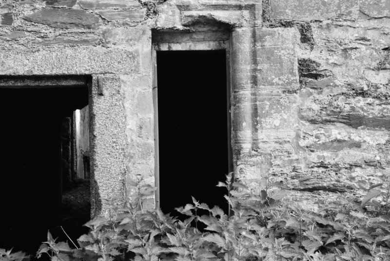Detail of entrance doors, Ravenstone Castle.