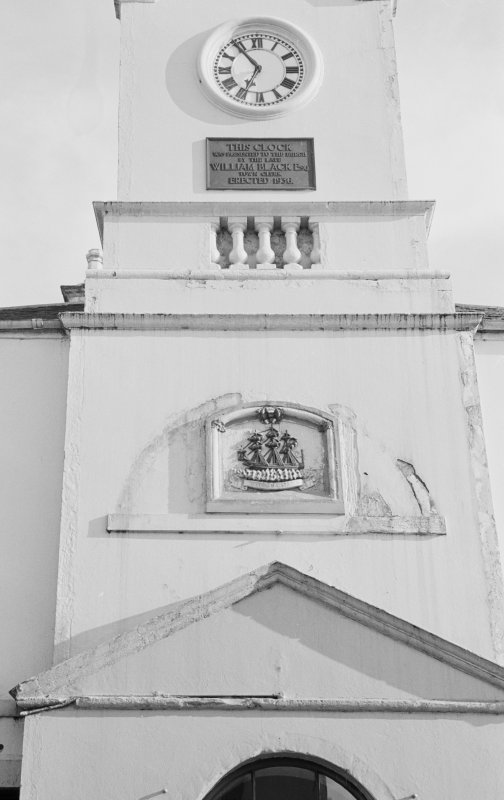 Detail of tower, Old Town Hall, Stranraer.