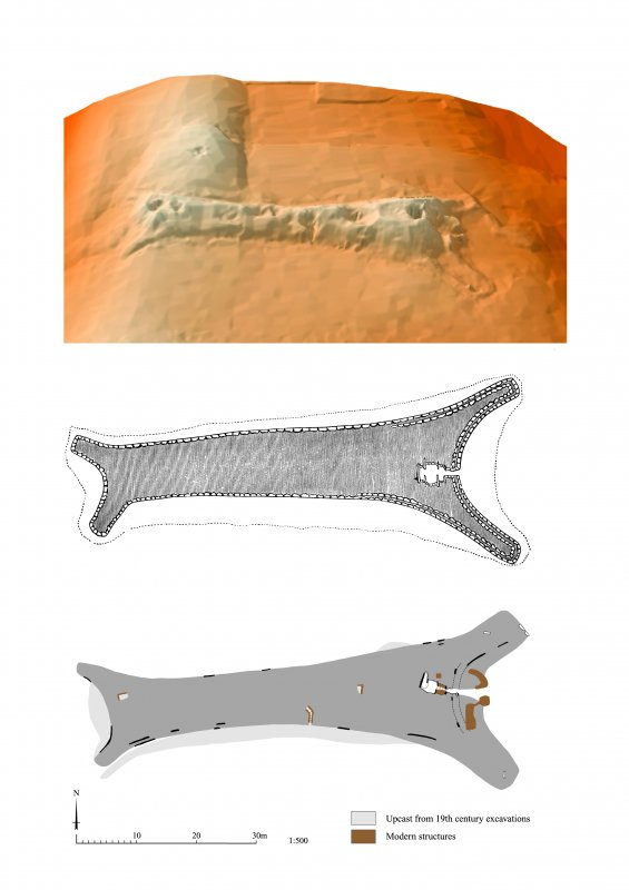 Adobe Illustrator comparative page showing 2 plans and a digital terrain model of South Yarrows South long cairn
