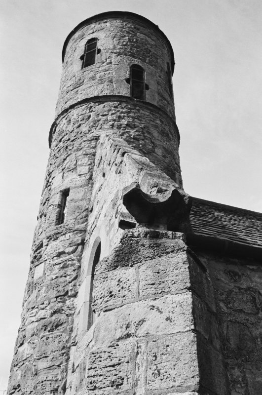 Detail of Cockburnspath Parish Church tower.