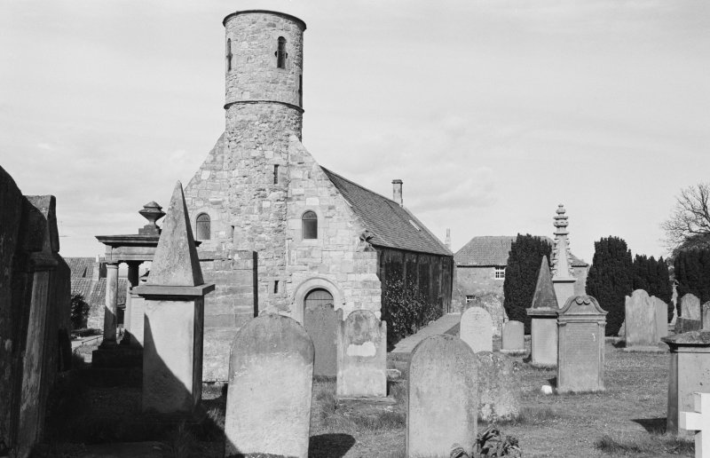 View of Cockburnspath Parish Church and churchyard from SW.