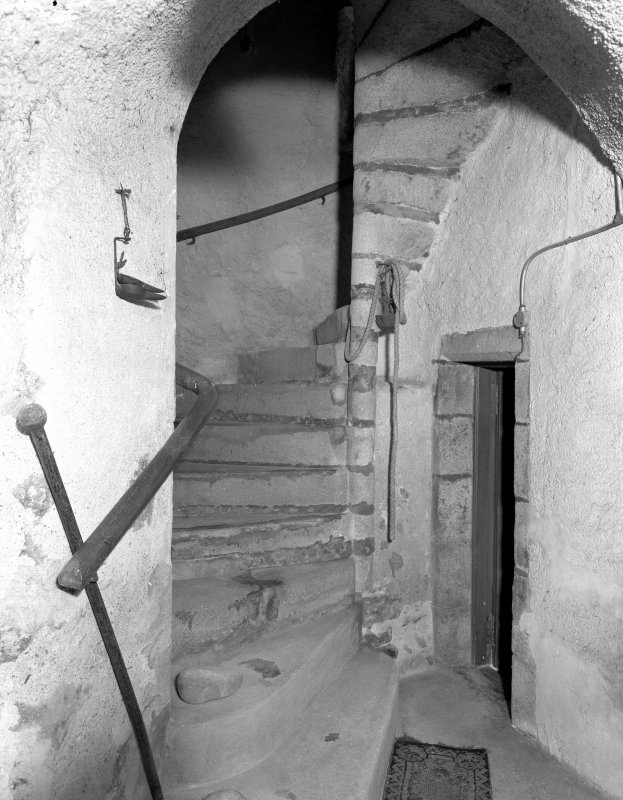 Interior view of Udny Castle showing newel stair in tower.