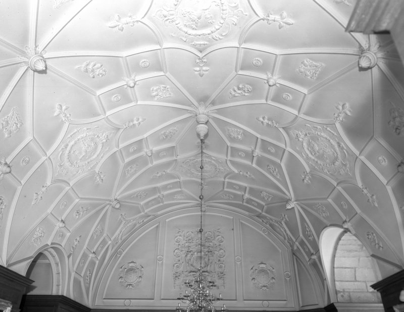 Interior view of of Udny Castle showing hall ceiling (now dining room).