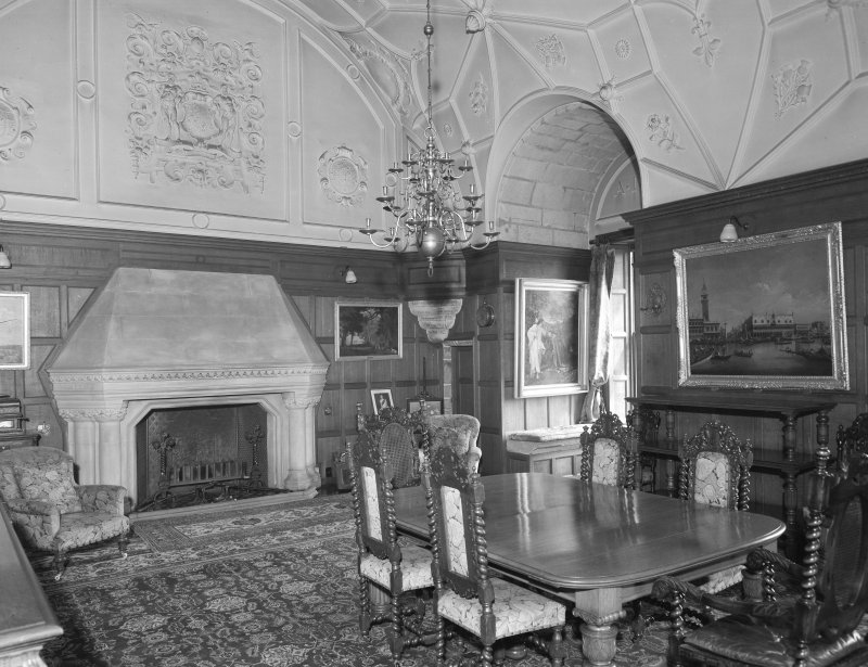 Interior view of Udny Castle showing hall (now dining room).