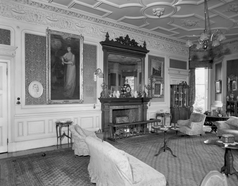 Interior view of Udny Castle showing drawing room.