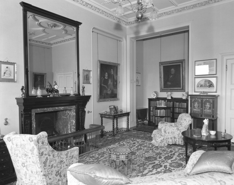 Interior view of Udny Castle showing sitting room.
