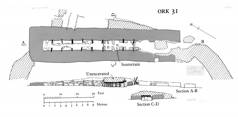 Plan and sections of chambered cairn (ORK 31)