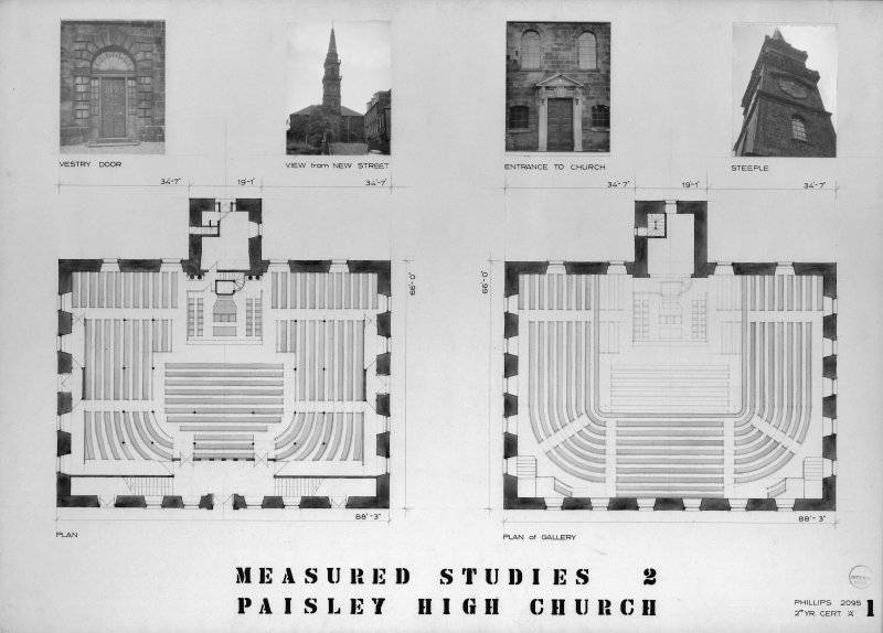 Photographic copy of drawing showing ground floor plan and gallery plan.