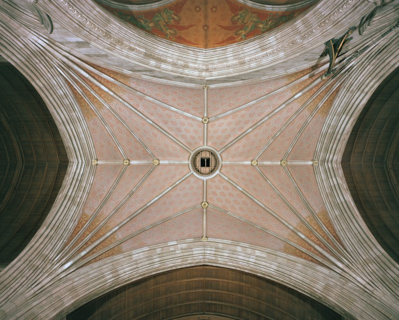 Interior. View of ceiling at crossing.