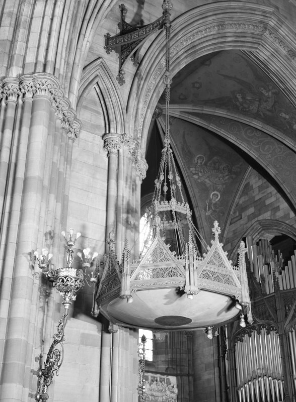 Interior. Detail of pulpit canopy from SW.