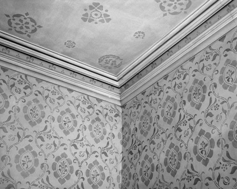 Interior. Detail of cornice in male retiring room.