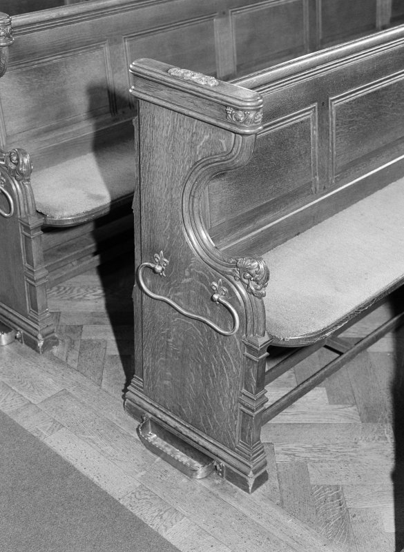 Interior. Detail of pew.