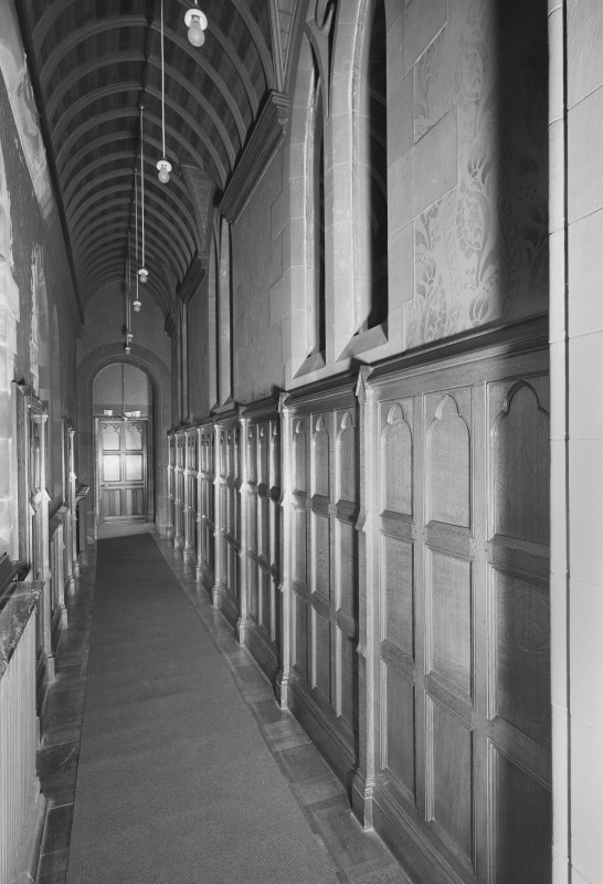 Interior. View of corridor to N of chancel.
