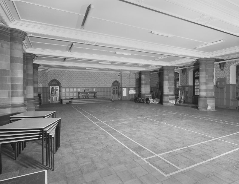 Interior. View of ground floor main hall from SW.