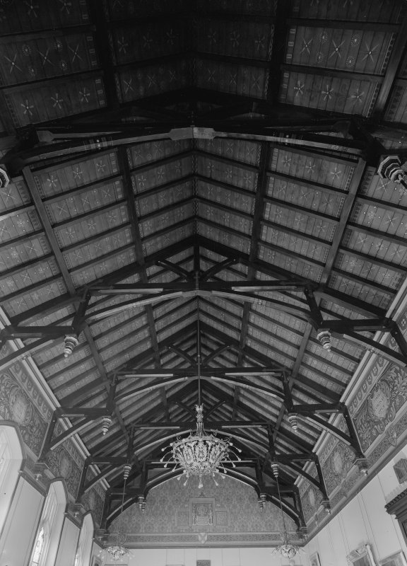 Interior view of Trinity Hall, Union Street, Aberdeen, showing painted timber ceiling in large hall.