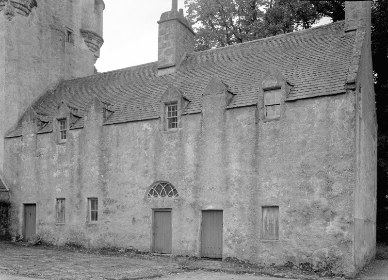 View of kitchen wing, Midmar Castle, from north east.