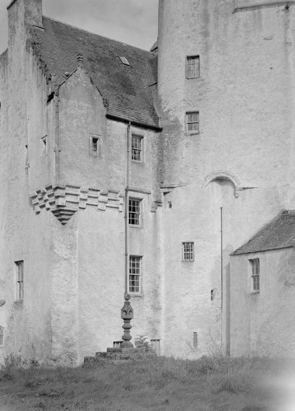 View of Midmar Castle and sundial from south west.